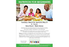 Nutrition for Beginners (May) -CANCELLED